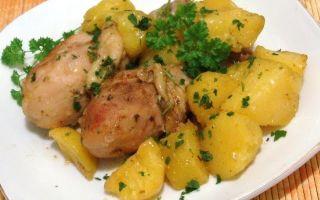 Запеченная курица с картошкой в мультиварке: окорочка, ножки, бедра