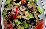 Салат из печёных баклажанов и свежих овощей