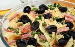 Салат с макаронами и ветчиной – итальянские рецепты с добавлением помидоров, огурцов и оливок