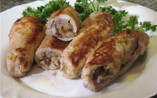Рулетики из свинины с начинкой:рецепты с грибами, сыром и овощами