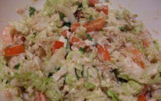 Салат с тунцом и пекинской капустой – рецепт с болгарским перцем