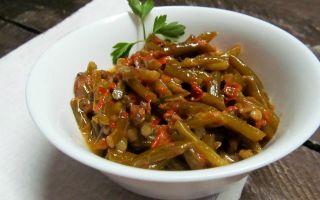 Салат из чесночных стрелок с запечеными перцами